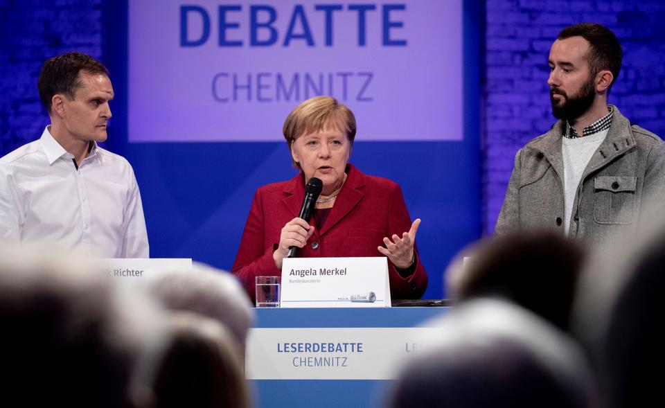 German Chancellor Angela Merkel attended a debate with citizens in the East German city of Chemnitz on Friday, November 16, 2018.