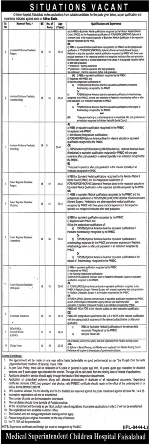 Children's Hospital Faisalabad Jobs 2019