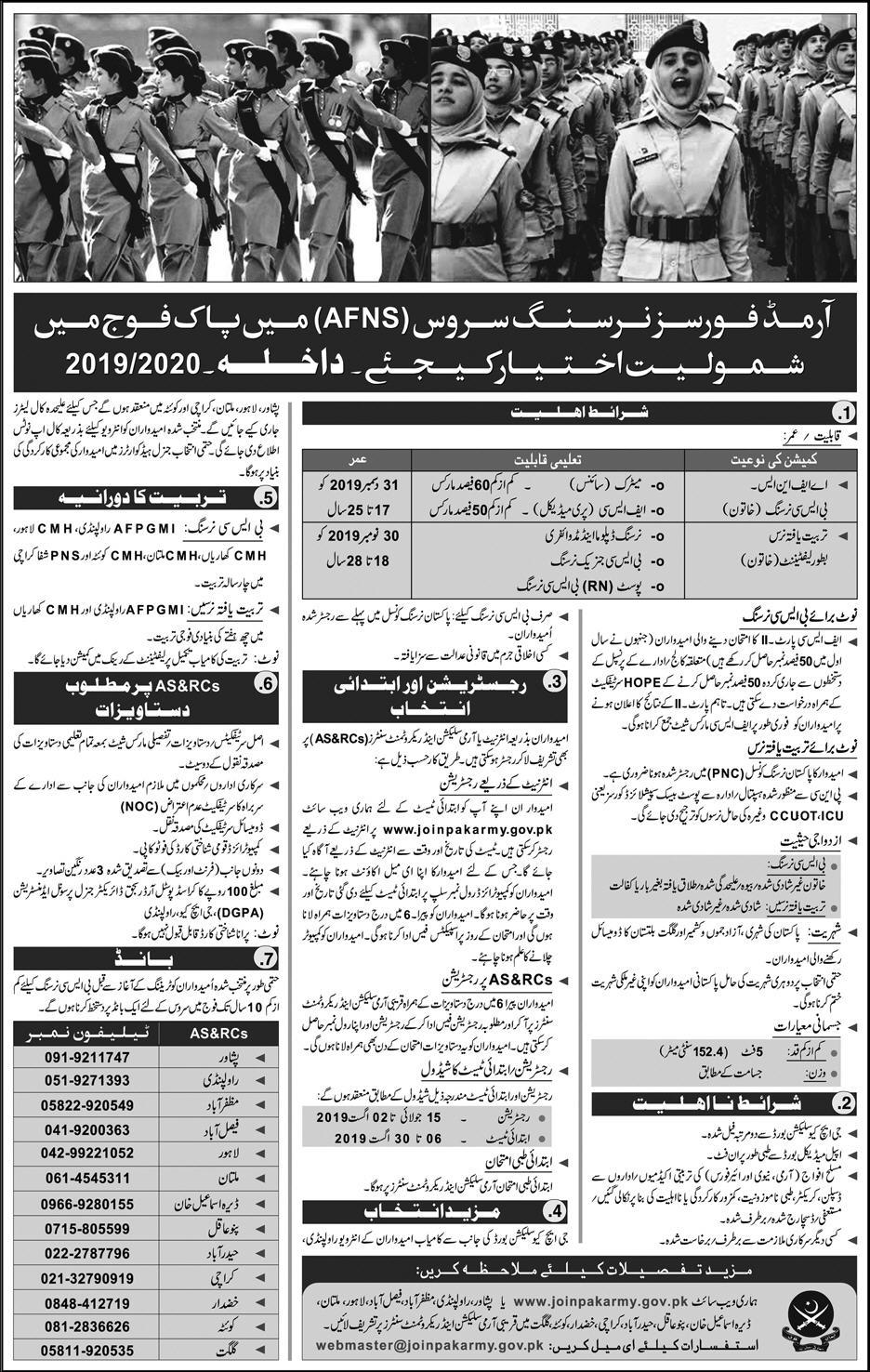 Pak army jobs 2019 - Join pak Army as nursing