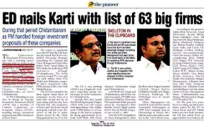 Karti Chidambaram of Pioneer Newspaper