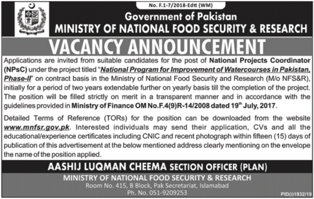 National Food Security Research Department 2019 Pakistan