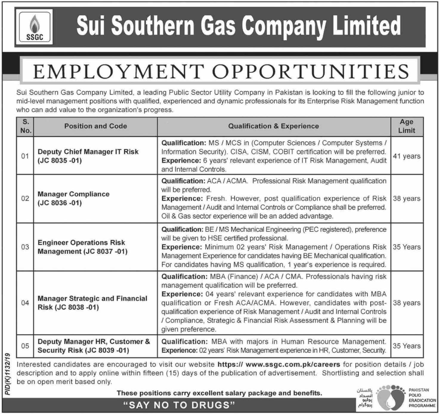 Sui Southern Gas Company Limited jobs at SSGC 2019