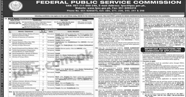 Ffpsc Calendrier 2019.Fpsc Jobs 10 2019 For 219 Posts In Federal Public Service