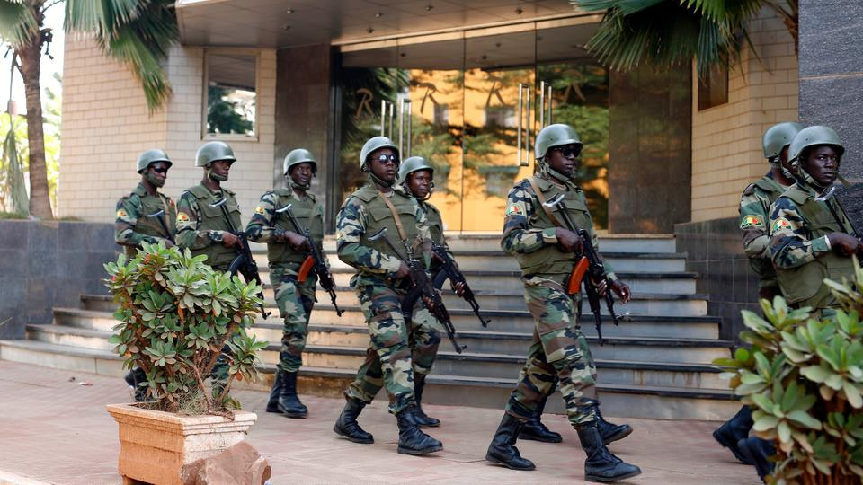 Photo: President Guard Patrol outside Bamako's Radisson Blu hotel, attacked by fighters connected with Al Qaida and Daesh on November 21, 2015.