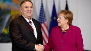 German Chancellor Angela Merkel and US Secretary of State Mike Pompeo at a press conference in Berlin, Germany on November 8, 2019