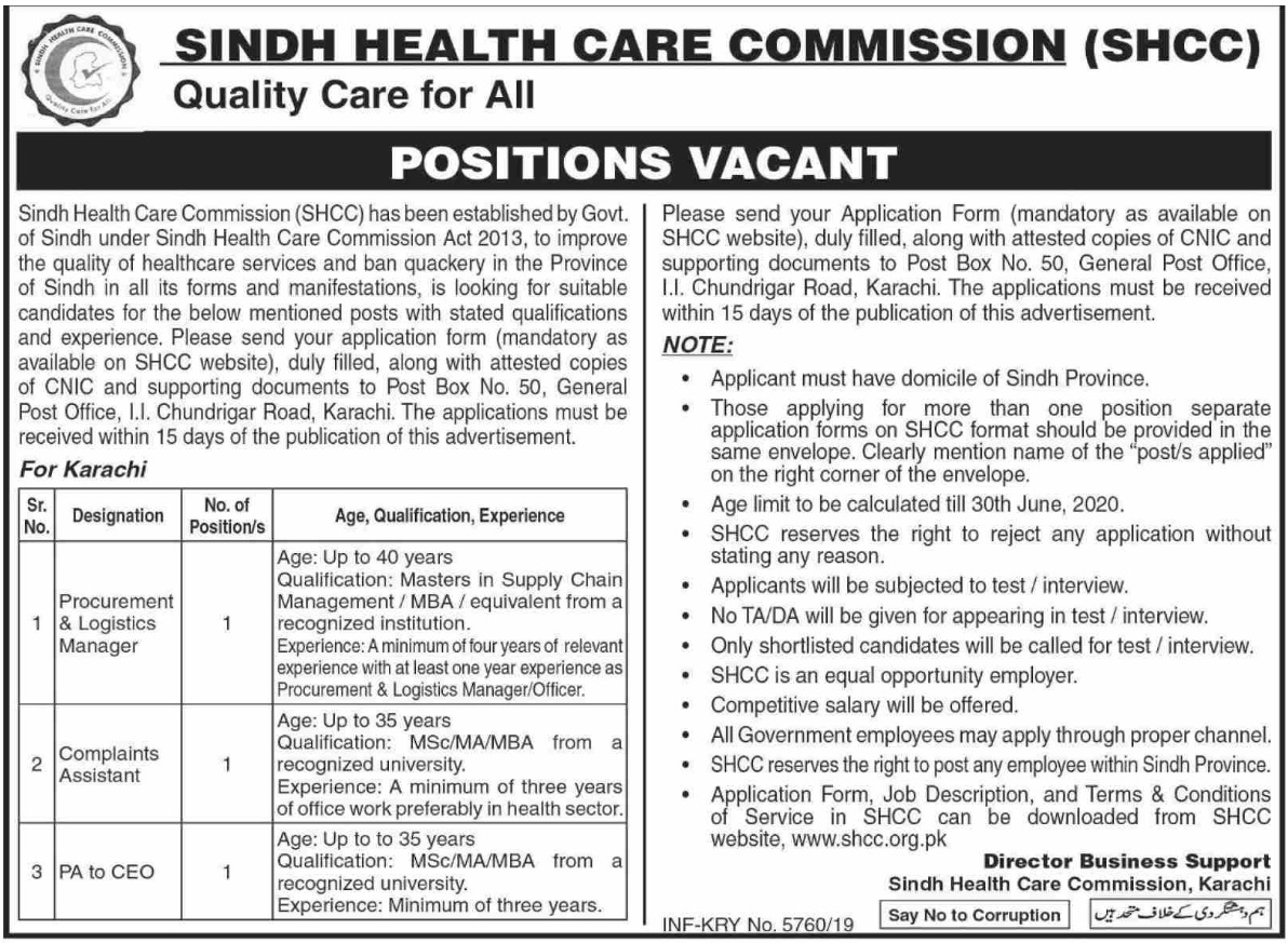 Sind Health Board SHCC Jobs 2019