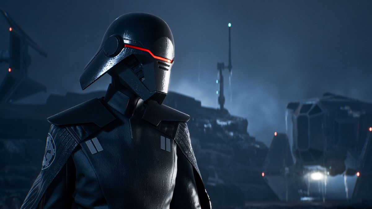 an ominous figure with a black mask and imperial uniform looks left in Star Wars Jedi: Fallen Order