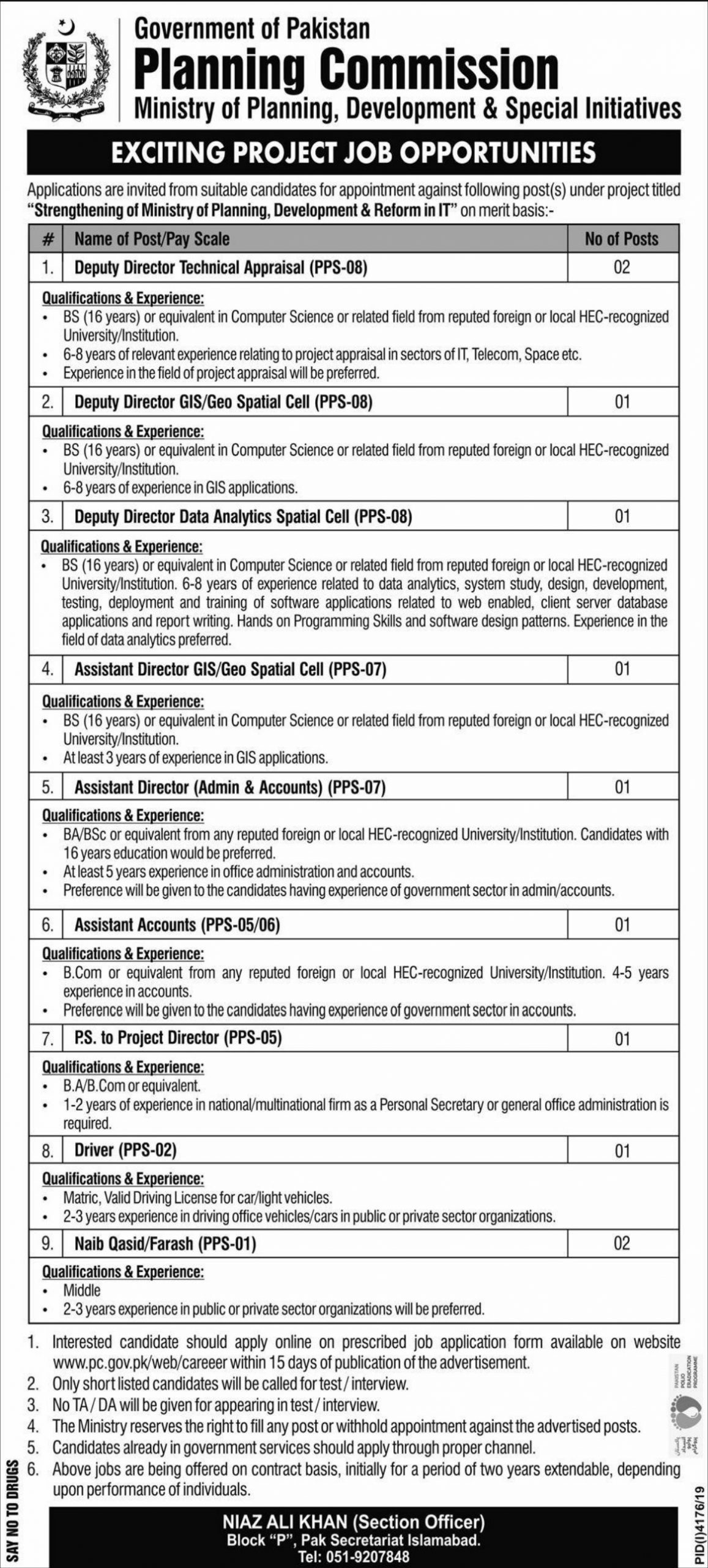 Planning Council Jobs 2020 Government of Pakistan