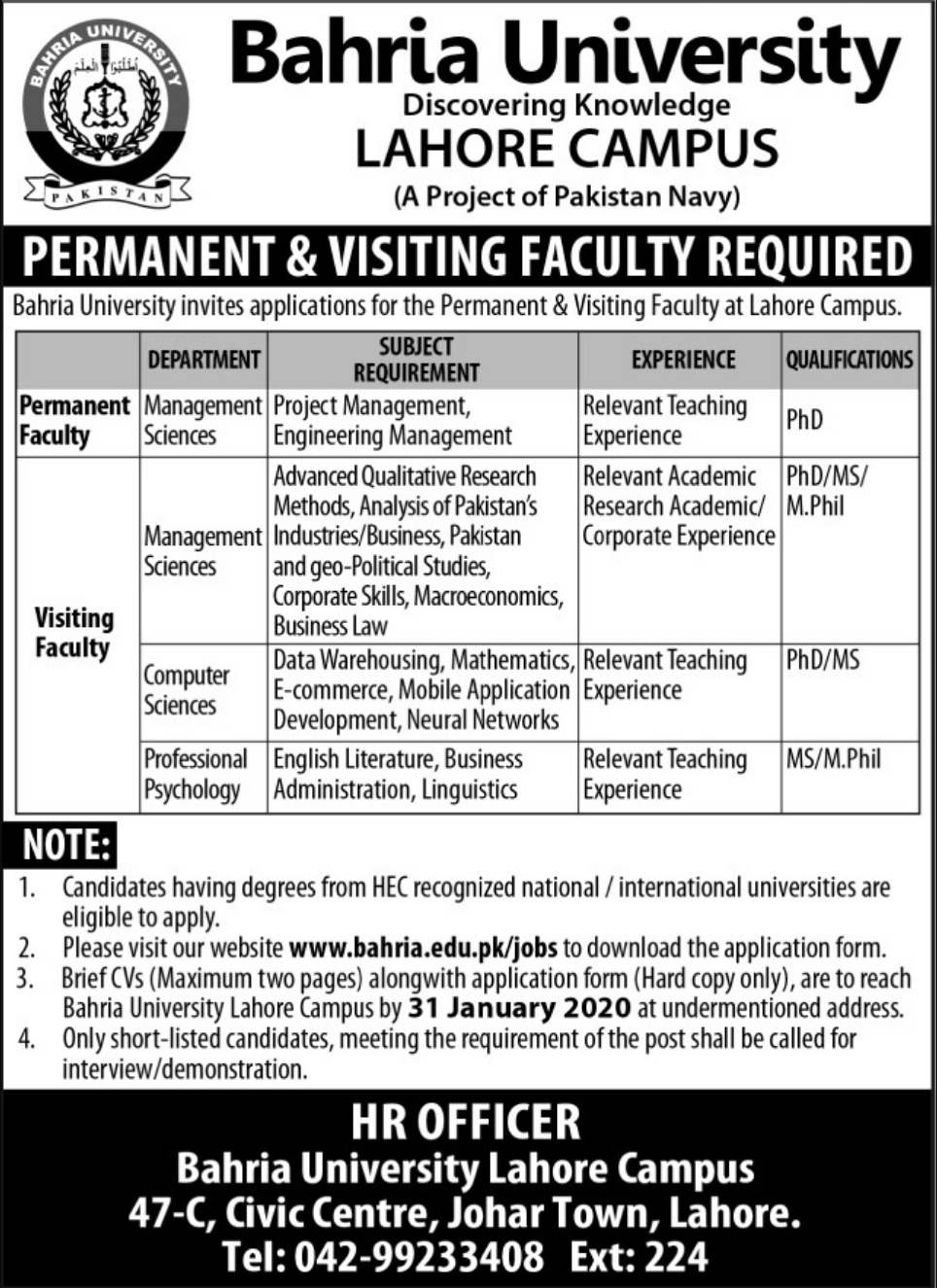 Careers at Bahria University Lahore 2020