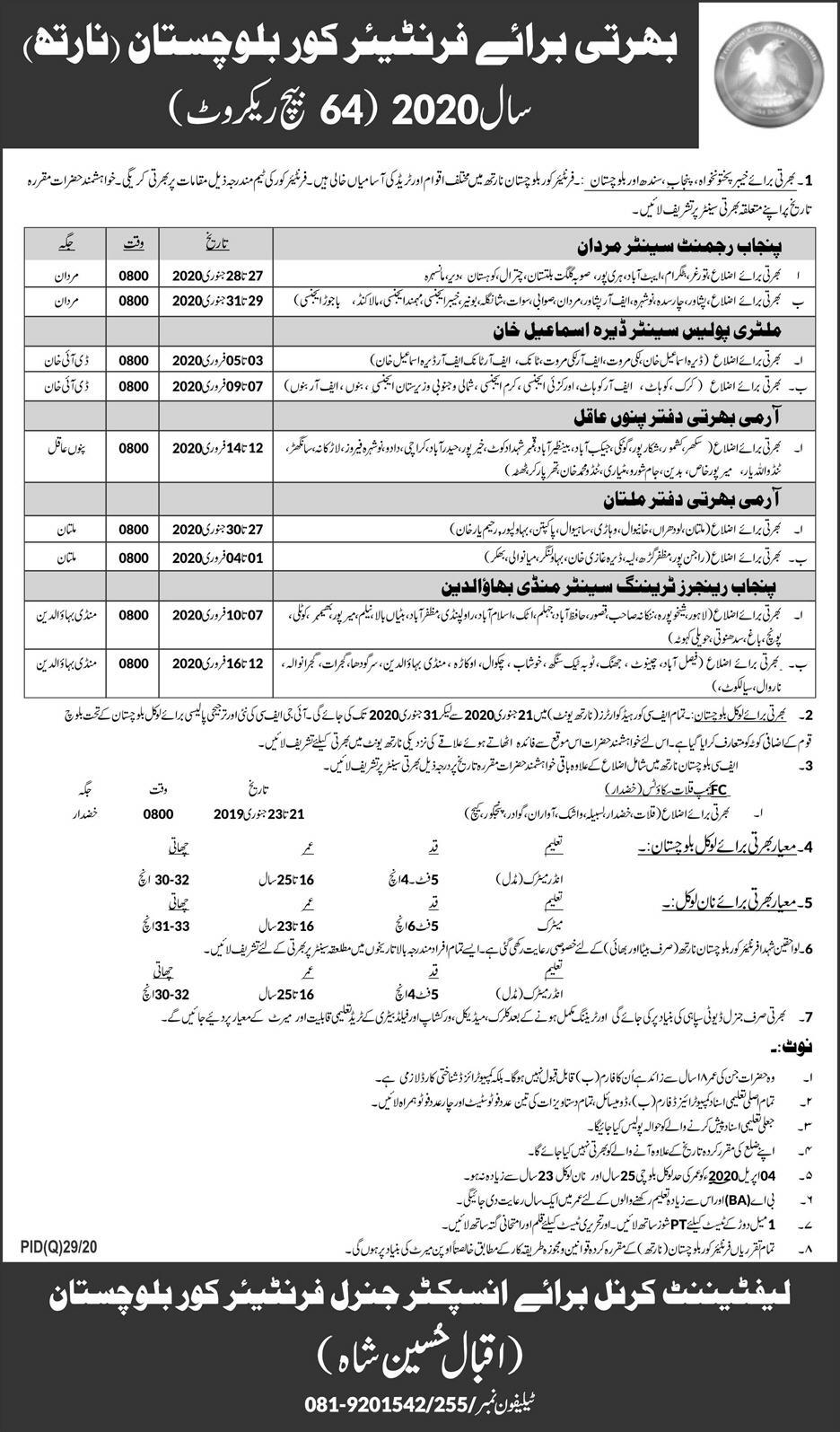 Frontier Corps Balochistan Jobs 64 Batch Recruit 2020
