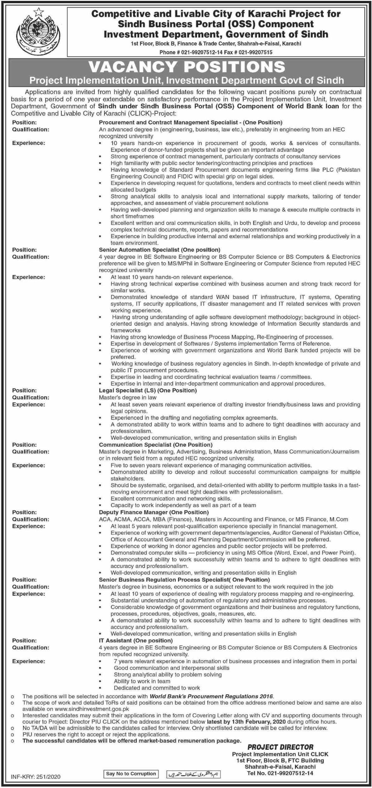 Sind Jobs Investment Agency 2020