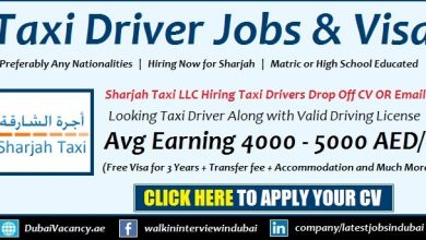 Sharjah Taxi Jobs and Free Visa Provided For Taxi Driver All Nationalities